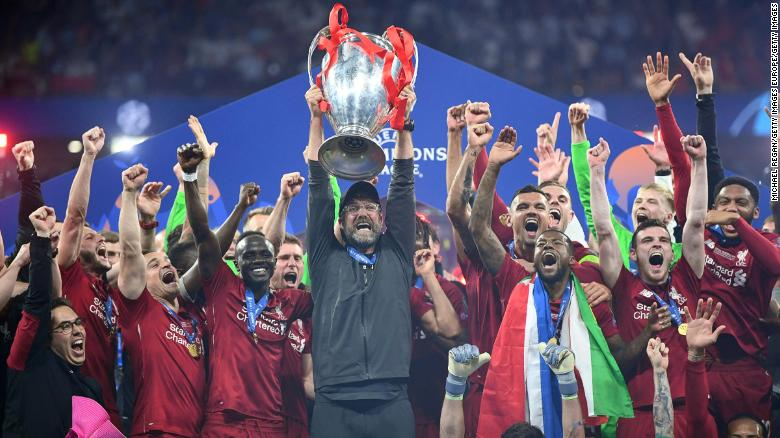 Jurgen Klopp lifts the Champions League trophy after Liverpool beat Tottenham.