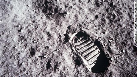 An astronaut's bootprint leaves a mark on the lunar surface July 20, 1969, on the moon.