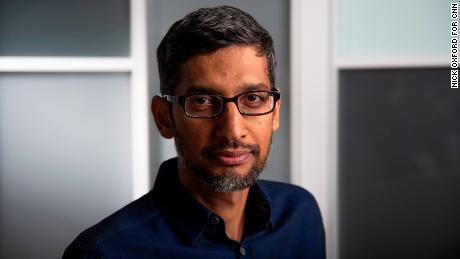 Pichai poses for a portrait at the Google data center in Pryor, Oklahoma.