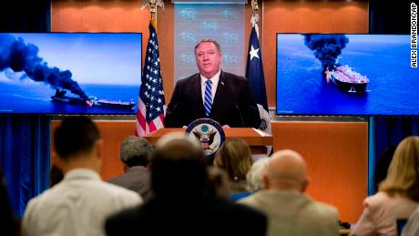 US Secretary of State Mike Pompeo speaks about the tanker attacks at the State Department on  Thursday.