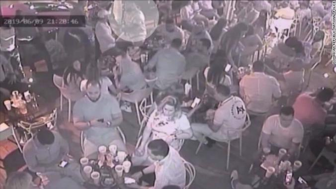 Nightclub surveilance video shows David Ortiz, highlighted, moments before he was shot.