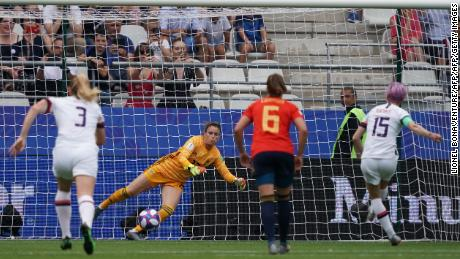 Rapinoe scores her first penalty of the match.