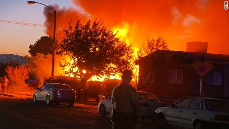 House fire in Ridgecrest, California moments after a earthquake struck the area on Friday, July 5.