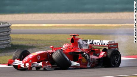 The wheels came off Michael Schumacher's dominance when changes to the rules on tires were introduced in 2005