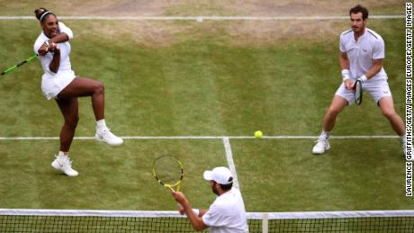 Serena Williams (left) teamed with Andy Murray in the mixed doubles event.