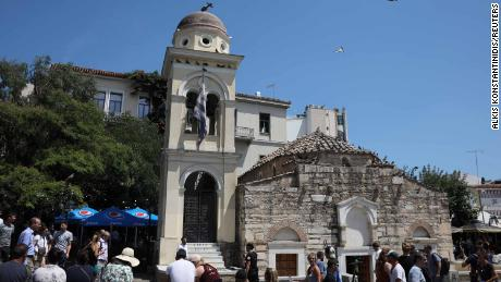 The Church of the Pantanassa bell tower was damaged in the Athens quake.