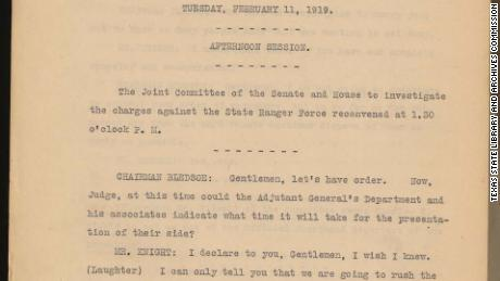 Hundreds of pages detail the findings of a 1919 Texas state investigation into the Rangers' actions.