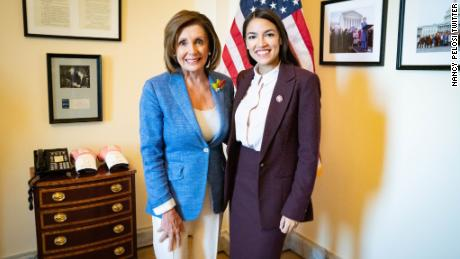 Image result for pelosi meets with aoc