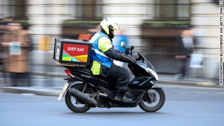 A food delivery courier working for Just Eat in London.