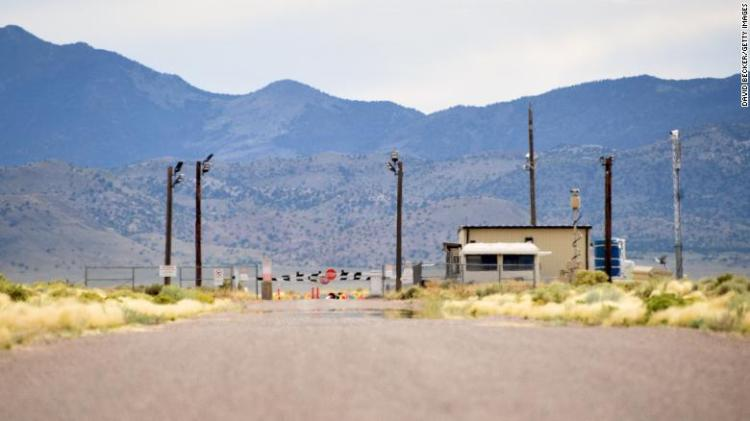 The back gate is seen at the top-secret military installation at the Nevada Test and Training Range known as Area 51 on July 22, 2019 near Rachel, Nevada.