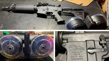 Dayton police released photos of the AR-15-style rifle and 100-round drum magazines Connor Betts used in the attack.