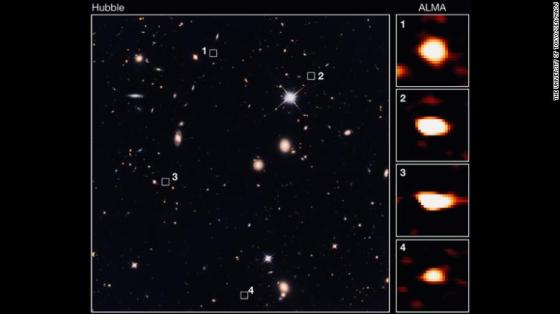 ALMA identified 39 faint galaxies that are not seen with the Hubble Space Telescope's deepest view of the Universe 10 billion light-years away.
