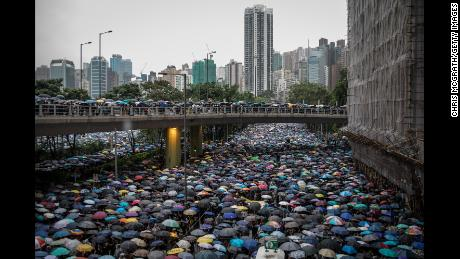 Hundreds of thousands took part in pro-democracy protests in Hong Kong.