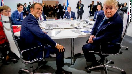 French President Macron and US President Trump at a G7 meeting on Sunday.