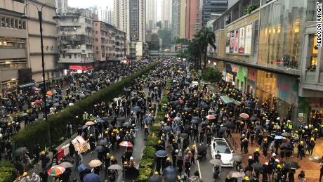Thousands of protesters gathered in Hong Kong's Tsuen Wan district on August 25, 2019.