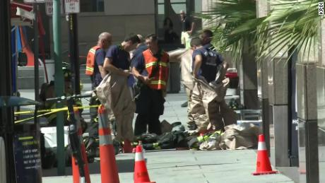 Emergency crews outside the Fairmont Hotel in downtown San Jose, California, on Saturday
