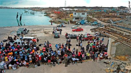 Evacuees gather at Marsh Harbour Port in Abaco, Bahamas, on Friday, September 6.