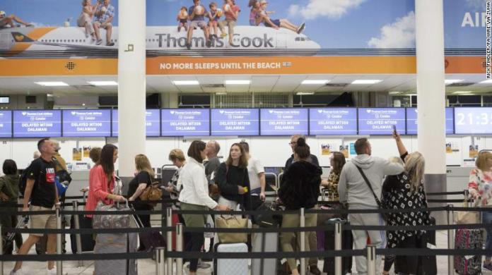 September 22, 2019, London, UK: A general view of the Thomas Cook check-in desks in the South Terminal of Gatwick Airport. Crucial talks aimed at preventing the holiday firm going out of business were held throughout Sunday amid fears that tens of thousands of holidaymakers will be stranded.