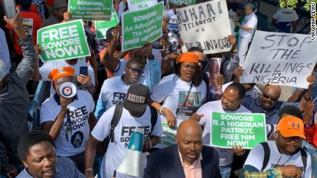 Protesters marching from the Nigerian House to the UN Plaza in New York in September, calling for release of detained journalist Omoyele Sowore.