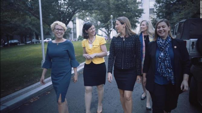 From left to right, Rep. Chrissy Houlahan of Pennsylvania, Rep. Elaine Luria of Virginia, Rep. Mikie Sherill of New Jersey, Rep. Abigail Spanberger of Virginia and Rep. Elissa Slotkin of Michigan.