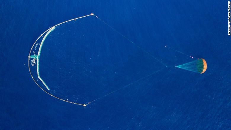 The Ocean Cleanup's System 001/B collects and holds plastic until a ship can collect it.