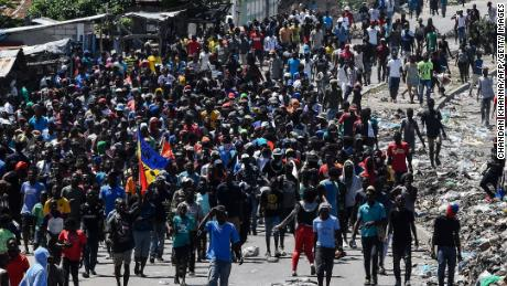 Protesters take to the streets last Friday in the Haitian capital.
