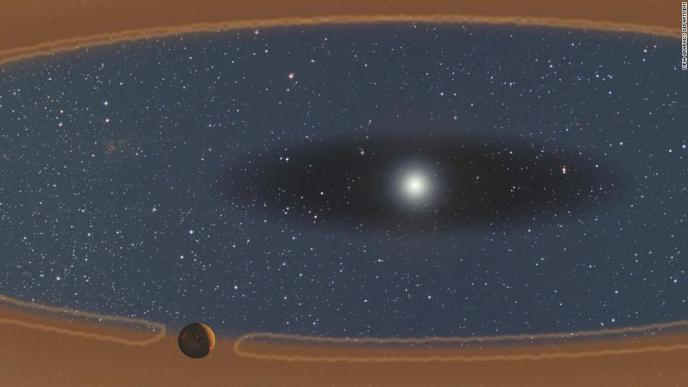 This illustration shows a young, forming planet in a