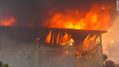 The fire burned several buildings in the Villa Calimesa mobile home park.