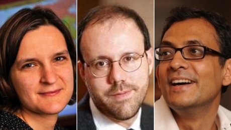 All three were awarded the Nobel Prize in Economics for their work on poverty.  One is the youngest ever winner