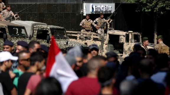 Lebanese soldiers stand guard in Beirut's financial district on October 19.
