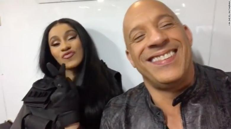 "Cardi B joined Vin Diesel on the set of the latest ""Fast & Furious"" film."