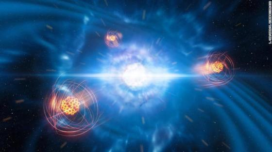 This artist's rendering shows two neutron stars merging and exploding, along with freshly created strontium.