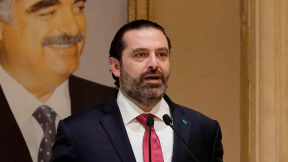 """Lebanese Prime Minister Saad Hariri speaks during an address to the nation on October 29. """"I can't hide this from you. I have reached a dead end,"""" Hariri said <a href="""