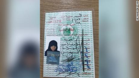 A senior Turkish official shared an image of Rasmiya Awad's identity card with CNN.