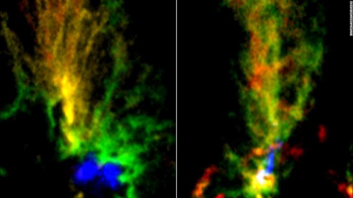 Two gaseous clouds resembling peacocks have been found in neighboring dwarf galaxy the Large Magellanic Cloud. In these images by the ALMA telescopes, red and green highlight molecular gas while blue shows ionized hydrogen gas.