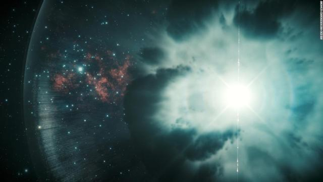 Gamma-ray bursts are shown in this artist's illustration. They can be triggered by the collision or neutron stars or the explosion of a super massive star, collapsing into a black hole.