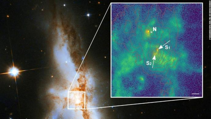 The galaxy NGC 6240 hosts three supermassive black holes at its core.