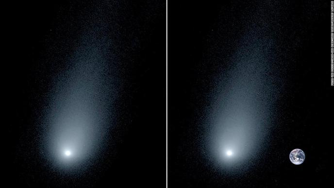A close-up view of an interstellar comet passing through our solar system can be seen on the left. On the right, astronomers used an image of Earth for comparison.