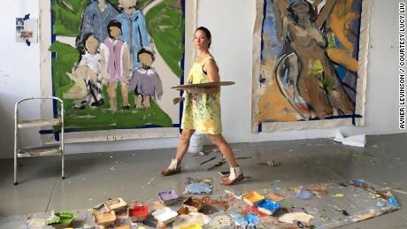 Lucy Liu is shown here in her studio.