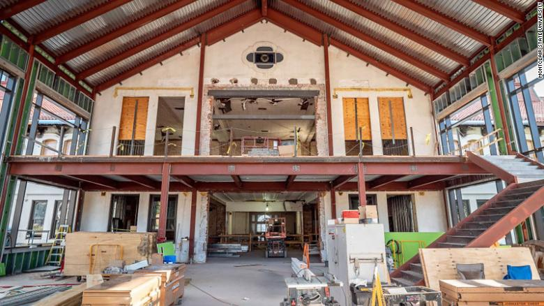 A picture of College Hall during renovations.