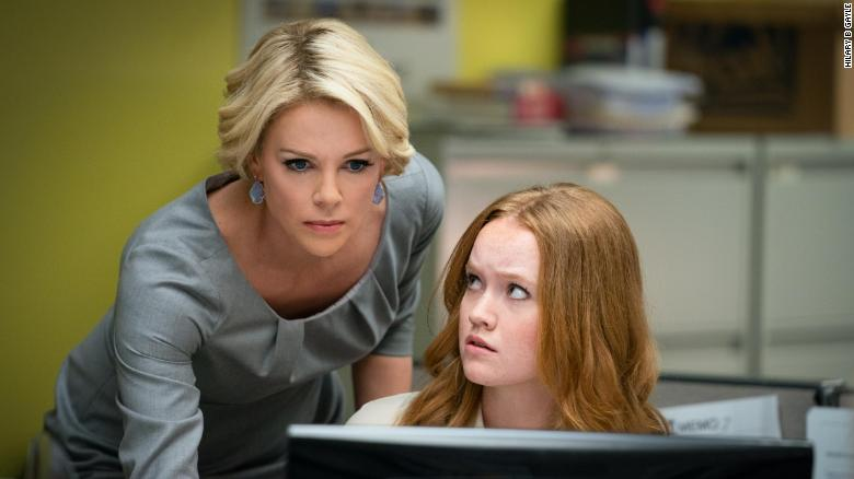 Charlize Theron (left) as Megyn Kelly in 'Bombshell'