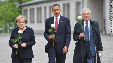 Obama, Merkel and holocaust survior Elie Wiesel pay their respects during a visit to the former Buchenwald concentration camp in 2009.