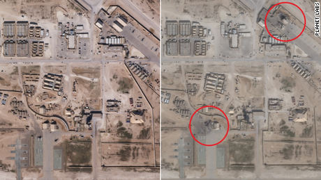 Satellite images appear to show damage caused by Iranian missile attacks on the Iraqi base