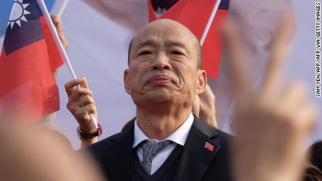 Han Kuo-Yu, Taiwan's main opposition Kuomintang presidential candidate, attends a campaign rally on January 4 in Tainan in southern Taiwan.