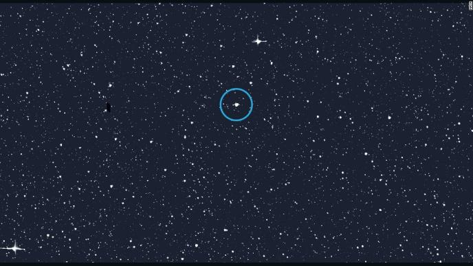 The former North Star, Alpha Draconis or Thuban, is circled here in an image of the northern sky.