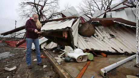 The storms killed 10 people across the United States over the weekend, as floods remain a major concern