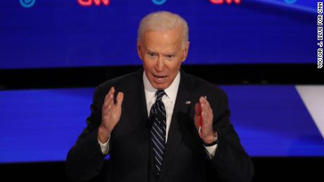 Presidential candidate Joe Biden participates in the Democratic debate in Des Moines, Iowa, on January 14.