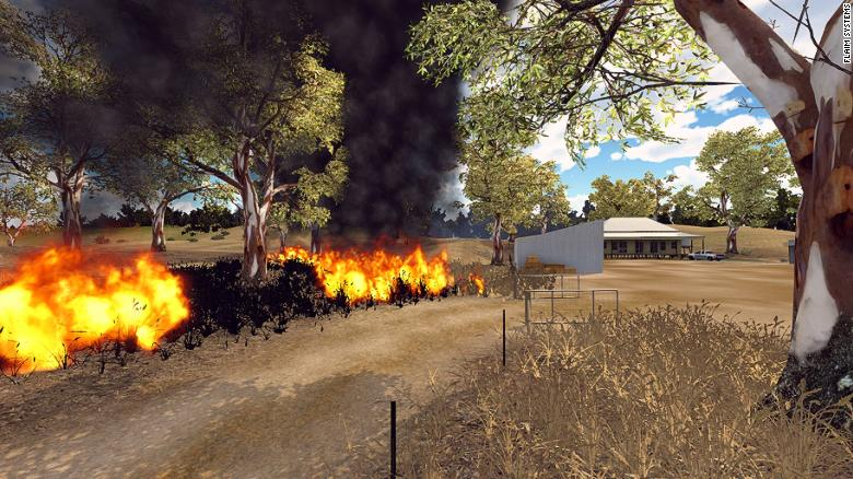 Un escenario de incendios en realidad virtual, creado por FLAIM Systems.