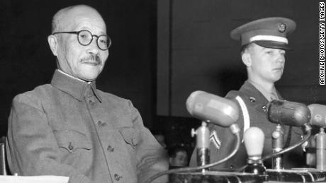 Hideki Tojo takes the stand for the first time during the International Tribunal trials in Tokyo in 1947.