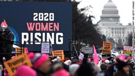 Crowds present for the 4th edition of the Women's March and the 2020 election issues are in the foreground